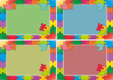 Four frames design with jigsaw puzzle Royalty Free Stock Photography