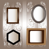 Four frames. Four frames for a photo and pictures against wallpaper Royalty Free Stock Photo