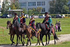 Four French horse officiers. September 8, 2012, Moscow, Zhulebino area. History reconstruction show dedicated to 200 jubilee of the Borofino battle Stock Photo