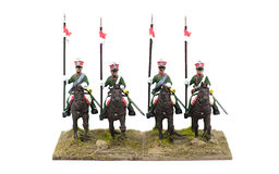 Four French Toy Soldiers on Horseback Royalty Free Stock Images