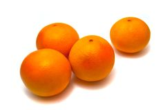 Four fresh tangerines Royalty Free Stock Photography