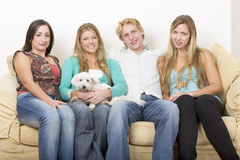 Free Four Friends And A Dog Royalty Free Stock Photos - 766118