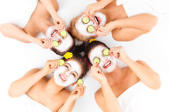 Four friends enjoying time in spa Royalty Free Stock Photo