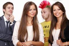 Four friends faces Stock Images