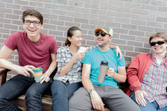 Four Friends Laughing Royalty Free Stock Photos