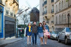 Four friends in Paris together Stock Image