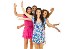 Four friends showing their hands Stock Photos