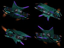 Four front views of an alien space ship Royalty Free Stock Photography
