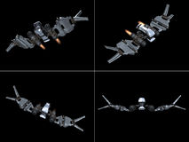 Four front views of a StarFighter in action Stock Image