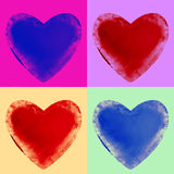 Four Frozen Hearts Stock Images