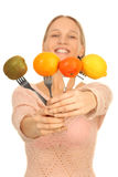 Four fruit on a fork Stock Photo