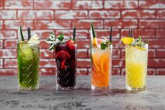 Four fruit cocktails on table. royalty free stock image