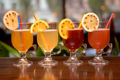 Four fruit punches Royalty Free Stock Photo