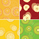 Four fruit seamless patterns Royalty Free Stock Photo