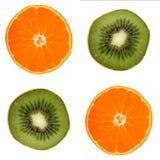 Four fruit slice. Orange and kiwi on white Royalty Free Stock Photos