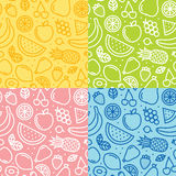 Four fruits seamless vector pattern set Royalty Free Stock Photography