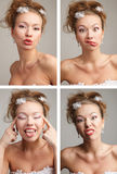Four funnny  images of a young bride Stock Image