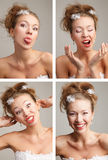 Four funnny  images of a young bride Stock Images