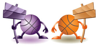 Four Funny basketballs Royalty Free Stock Image