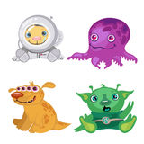 Four funny bizarre alien, fictional characters Royalty Free Stock Photo