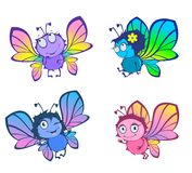 Four funny butterflies Stock Photography