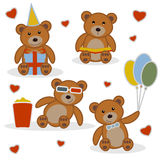 Four funny cartoon bear cubs Stock Image
