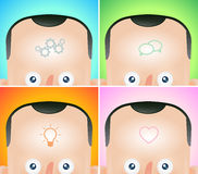 Four funny cartoon heads with visualization of Stock Images
