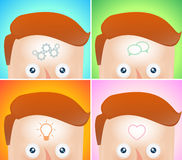 Four funny cartoon heads with visualization Royalty Free Stock Photo