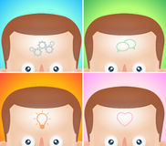 Four funny cartoon heads with visualization  Stock Images