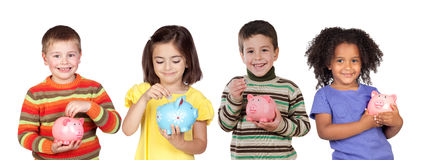 Four funny children with money-box Royalty Free Stock Image