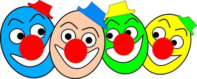 Four funny colorful clowns with caps are laughing. Illustration of four funny colorful clowns with caps are laughing Stock Images
