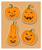 Four funny colour smiling pumpkin Stock Image