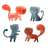 Four funny kittens Royalty Free Stock Images