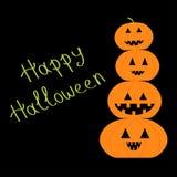 Four funny pumpkins. Halloween card.  Flat design. Orange  background Stock Photography