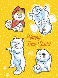 Four funny puppies with lettering Happy New Year. Vector print. Happy New Year. Holiday postcard. Four funny puppies play in the snow. Vector illustration Royalty Free Stock Image