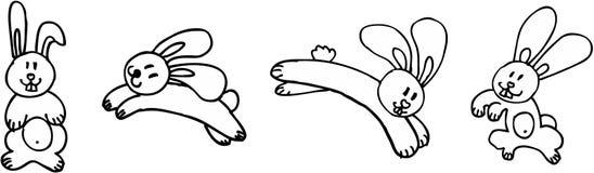 Four funny rabbits. On white background. illustration Royalty Free Stock Photo