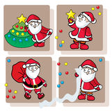 Four Funny Santa Claus. Funny Santa Claus with Christmas fir, toys and star Stock Images
