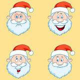 Four funny Santa Claus heads - set. Stock Photography