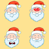 Four funny Santa Claus heads - set. Stock Image