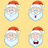 Four funny Santa Claus heads - set. Royalty Free Stock Images