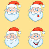 Four funny Santa Claus heads - set. Stock Images