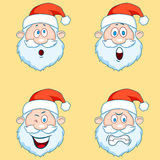 Four funny Santa Claus heads - set. Royalty Free Stock Photos