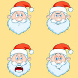 Four funny Santa Claus heads - set. Royalty Free Stock Photography