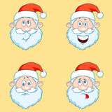 Four funny Santa Claus heads - set. Stock Photos