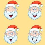 Four funny Santa Claus heads - set. Stock Image