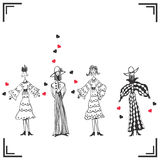 Four funny shaped women Royalty Free Stock Image
