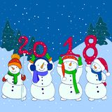 Four funny snowmen hold the numbers 2018 New Year, cartoon style. Christmas characters, isolated against the background of snow-capped mountains, spruce and Royalty Free Stock Photos