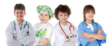 Four future workers. On a over white background stock images