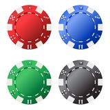 Four gambling chips (red, blue, green, black) for your designs isolated on white background Stock Photo