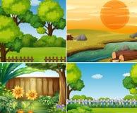 Four garden scenes with trees Stock Photo